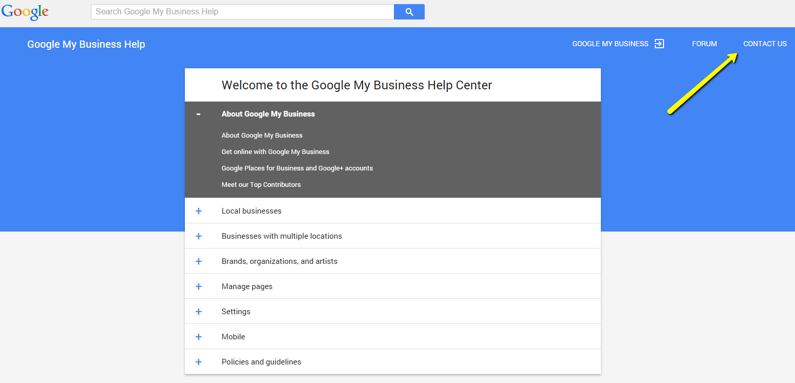 Google My Business help screen  - no postcard arrived